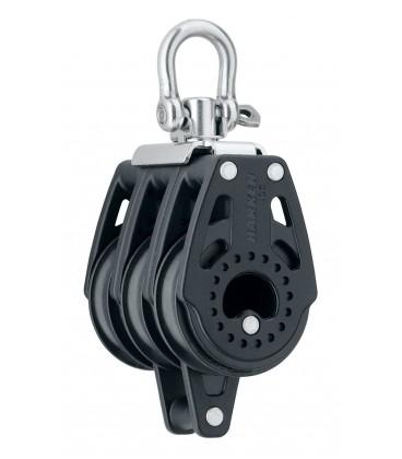 Harken 40 mm Carbo Air Dreifachblock mit Wirbel und Hundsfott