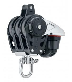 Harken 40 mm Carbo Air Dreifachblock mit Wirbel, Carbo Cam und Hundsfott