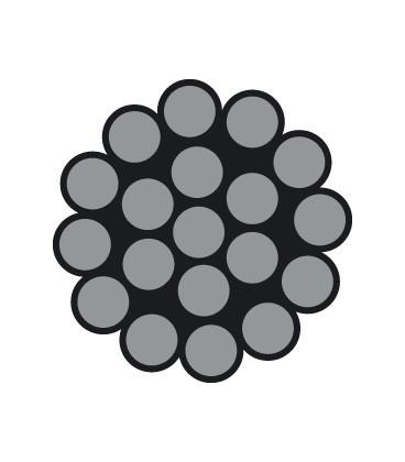 Hartes Edelstahl-Drahtseil 1 X 19 Drähte (DIN 3053)